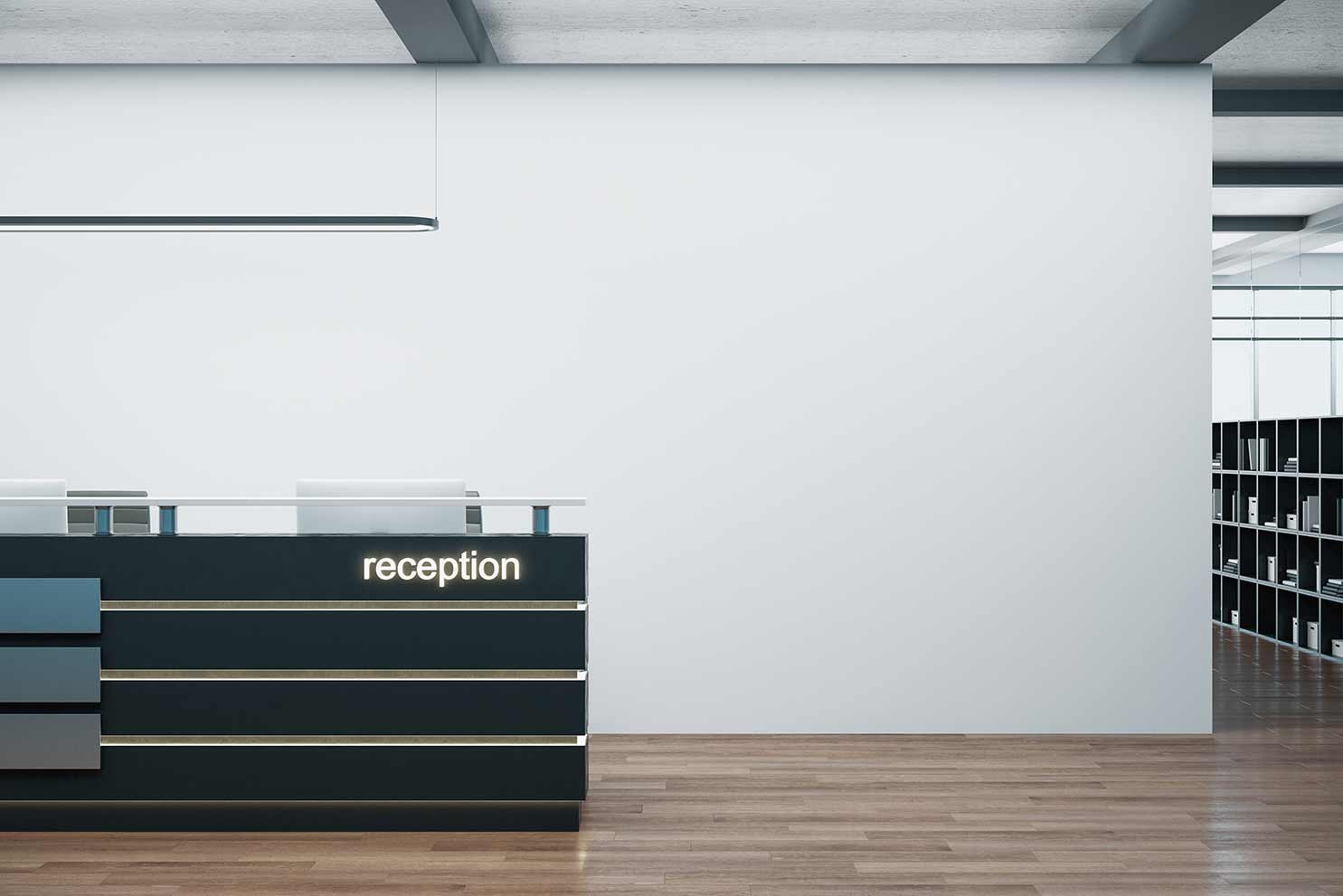Reception desk for a security company